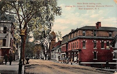 1908 Stores Main St. looking North East Greenwich RI post card