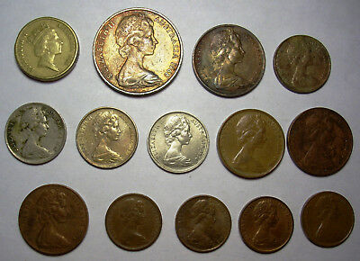 14 Australia Coin Lot 1966-1988 $2 20c 10c 5c 2c 1c All Different Australian