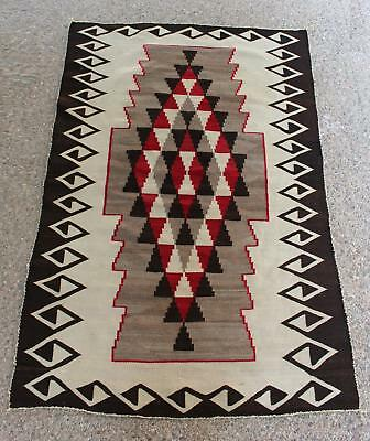 Antique Western Circa-1900 Native American Navajo Indian Hand Woven Wool Rug