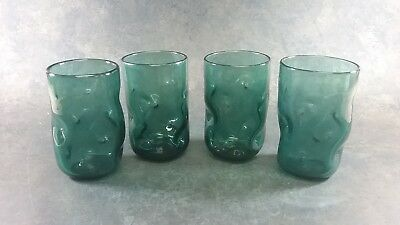 HAND BLOWN ART GLASS DIMPLED PINCHED DRINKING GLASSES SET OF 4 Blenko?