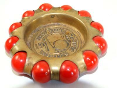 Vintage 1930s Fisher Brass Jewel Tray 1939 New York World's Fair Red marbles