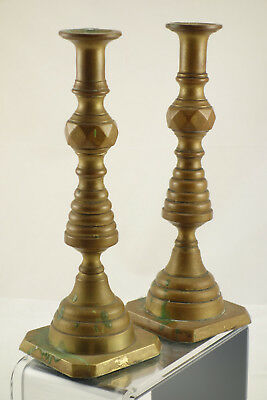 """Pair of Antique Victorian Era Solid Brass Beehive Candlesticks 10"""""""