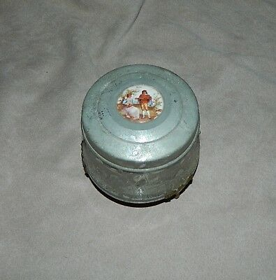 Vintage Metal Music Box-Powder Puff / Trinket - Victorian Theme-Unknown Tune