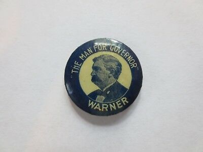 Celluloid Pinback for Vespasian Warner for Governor of Illinois