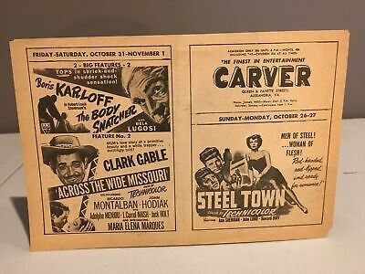 Vintage 1950s CARVER THEATER Handbill Alexandria, VA Segregation Horror Movie #2