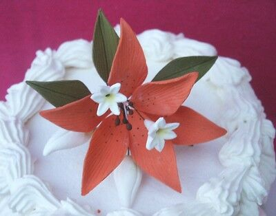 "4""x4"" Gum Paste Sugar Orange Lily Stephanotis Flowers & Leaves Cake Decoration"