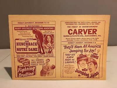 Vintage 1950s CARVER THEATER Handbill Alexandria, VA Segregation Horror Movie #4