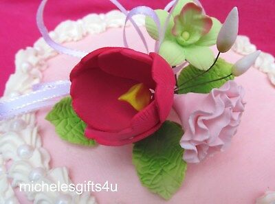 Gum Paste Sugar Orchid Red Tulip Pink Carnation Leaves & Ribbon Cake Flowers