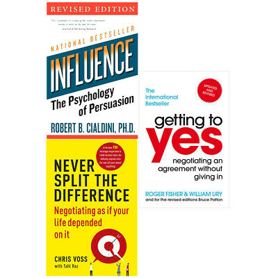 Never Split the Difference Getting to Yes Influence 3 Books Collection Set NEW