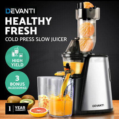 Devanti Cold Press Slow Juicer Whole Fruit Stainless Steel Processor Mixer