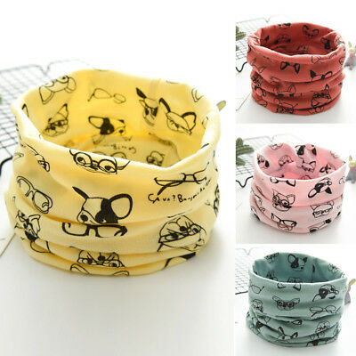 Autumn Winter Boys Girls Baby Cartoon Dog Warm Scarf Cotton O Ring Neck Scarves