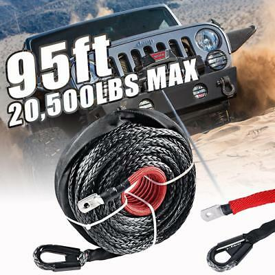 "95/'x3//8/"" 20500LBs Synthetic Winch Rope Line Cable Heat Guard ATV UTV Truck Boat"