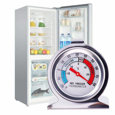 Stainless Steel Silver Fridge Freezer Thermometer Hanging Gauge Refrigerator