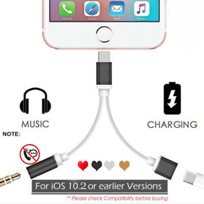 2 In 1 AUX 3.5mm Audio Headphone Adapter Charger Cable Spliter For iPhone 8 7 X