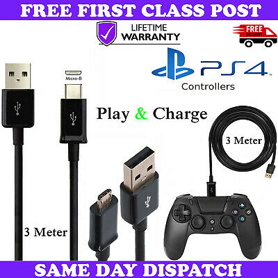 New Fast 3M Black Micro USB Charging Cable For Sony PS4 PlayStation 4 Controller