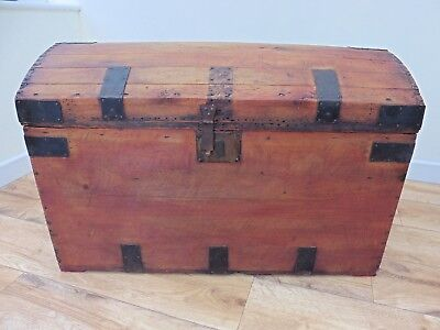 Large wooden domed top trunk/pirates chest style,lots of storage ideal toy box