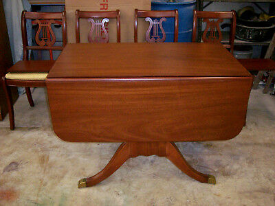 1933 Duncan Phyfe Drop Leaf Dining Table 2 Pedestal 2 extra leaves and 4 chairs.
