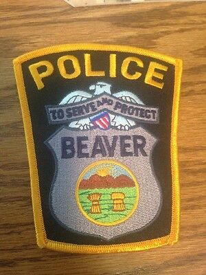 Beaver OH Police Department Patch Yellow White Black State Seal Unity Tour