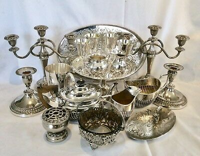 Fine Quality Joblot Of Antique/Vintage Mainly Sheffield Silver Plated Items 7 Kg