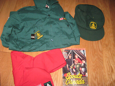 vintage Boy scout uniform and scarf and catalog and cap hat