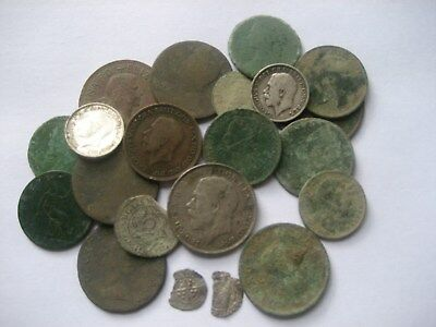 Group Of 21 As Dug Old British  Coins Metal Detecting Finds