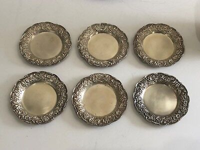 Set of 6 Sterling S Kirk & Son Repousse Butter Pats dishes #17 No Monogram RARE