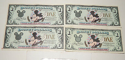 Lot of 4 Disney Dollars Mickey One Dollar Bill 1994 1996 with Envelope