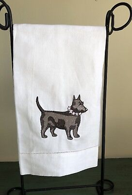 NWOT Terrier Embroidered White Linen Hand Towel Free Shipping