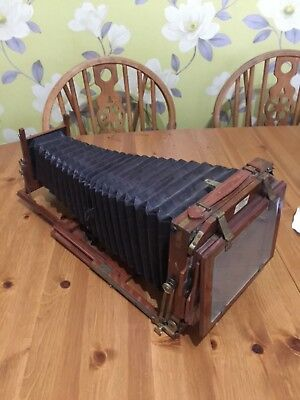 Antique Mahogany & Brass 19thC Wooden Plate Folding Camera J.Hinton Lake,Exeter