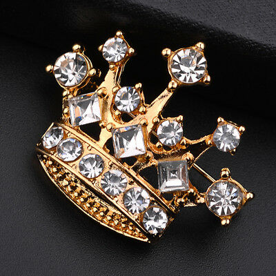 Gold Color Crystal Rhinestone Brooch Lapel Pin Crown Coat Suit