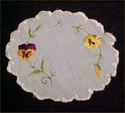 Vintage Antique Doily Linen Royal Society Table Topper Pansies Foliage Victorian