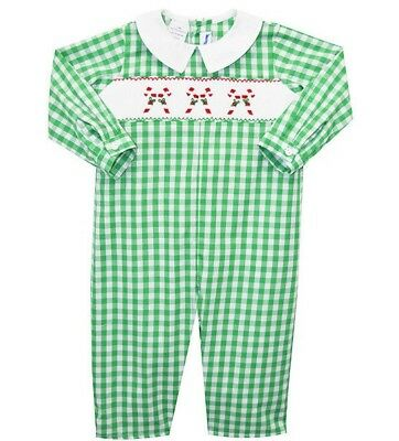 4164e45cfffb Boys SILLY GOOSE smocked Christmas romper 6M 12M 18M 24M NWT long candy cane
