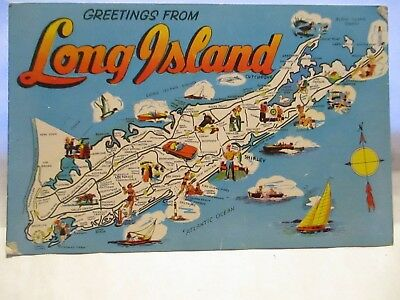 1959 Large Letter Map Postcard Greetings From Long Island Vacation Paradise, Bio