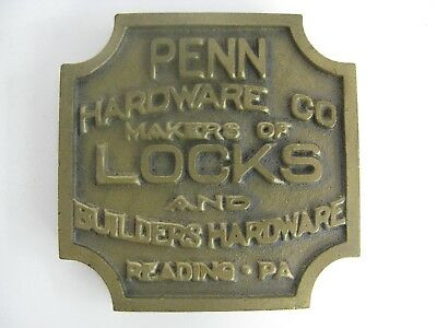 Paperweight Advertising Cast Bronze Penn Hardware Co Antique Vintage