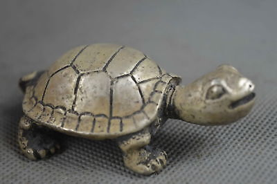 China Collection Handwork Miao SIlver Carve LOVELY Tortoise Statue Decorate Gift