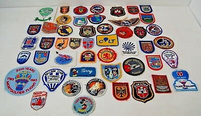 Large Collection of  48 Vintage Sew on Cloth Embroidered Souvenir Badges