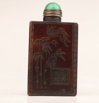 Vintage Chinese Yak Horn Snuff Bottles Old Hand-Carved Buddhist Bamboo Dec