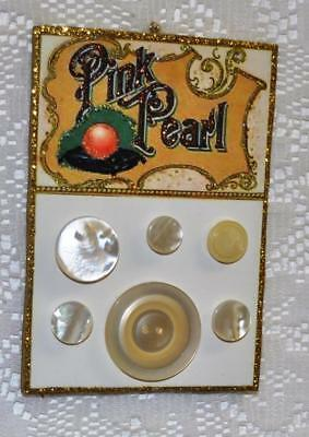 Pink Pearl Vintage Button Card  ~ Glittered  Image Ornament