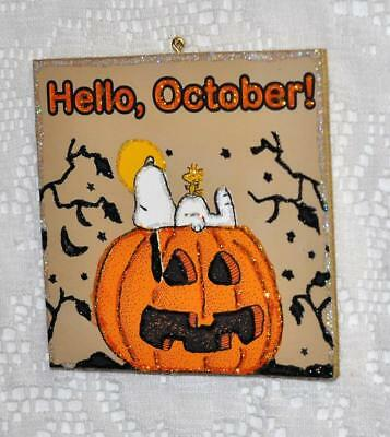 "Snoopy ""Hello October"" ~ Glittered Vintage Image Ornament"