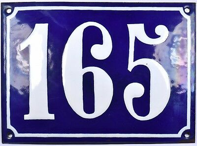 Large old French house number 165 door gate plate plaque enamel steel metal sign