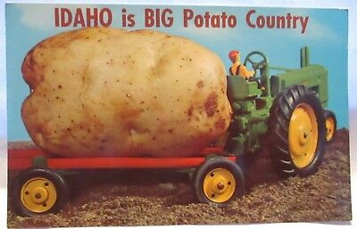 1970 Exaggeration Postcard Idaho Is Big Potato Country Toy Tractor, Big Potato