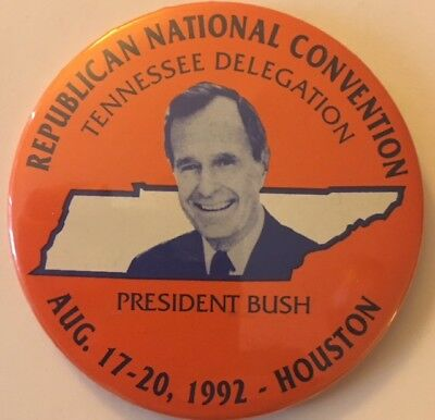 "3"" Tennessee Delegation RNC for President GH Bush 1992 Pin for the Oley Found."