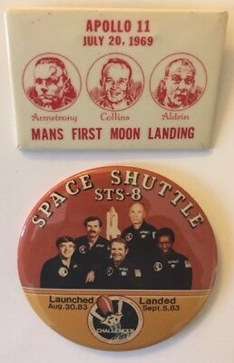 """2 by 3"""" Apollo 11 Moon Landing and 3 1/2"""" Challenger Shuttle Pins for Charity"""