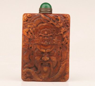 Vintage Chinese Shoushan Stone Seal Snuff Bottle Old Zhong Kui Hand Not Hollow