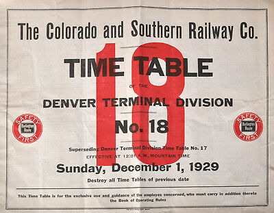 PDF File - Dec 1 1929 Colorado Southern Railway #18 Employee Railroad Timetable