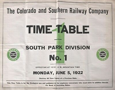 PDF File - June 5 1922 Colorado Southern Railway #1 Employee Railroad Timetable