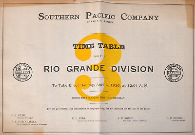 PDF File - April 4 1926 Southern Pacific Company #3 Employee Railroad Timetable