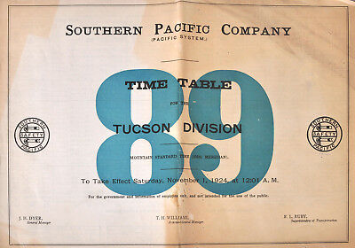 PDF File - Nov 1 1924 Southern Pacific Company #89 Employee Railroad Timetable