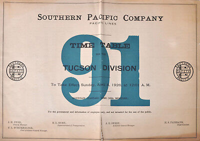 PDF File - April 4 1926 Southern Pacific Company #91 Employee Railroad Timetable