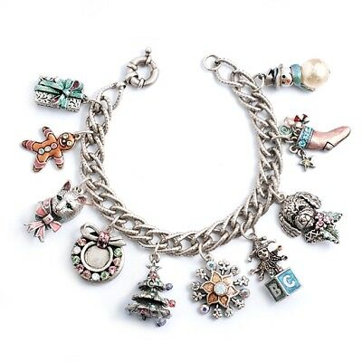 New Sweet Romance Retro Style Christmas Carol Charm Bracelet  St~~Made In Usa ~~